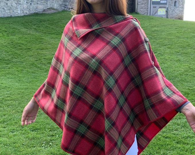 Irish Soft Lambswool Poncho, Cape, Shawl & Skirt in One Piece! - Pink/Green Tartan - Plaid Check - 100% Pure New Wool - HANDMADE IN IRELAND