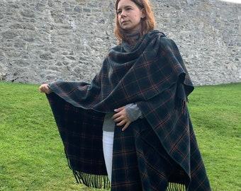 Irish Lambswool/Merino Wool Cape, Ruana, Wrap, Shawl - 100% Pure New Wool - Kennedy Tartan Plaid - supersoft -one size- HANDMADE IN IRELAND