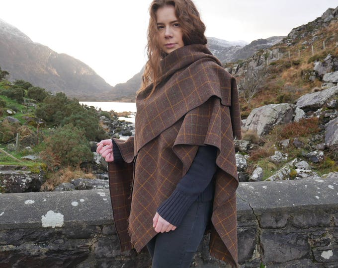Irish tweed ruana, wrap, cape, coat, arisaid- brown/ yellow&green over-check - 100% wool - ready for shipping - Handmade in Ireland