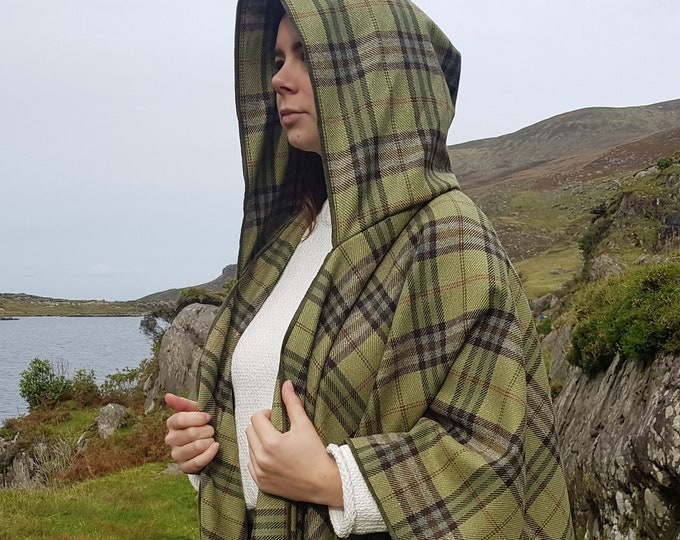 Irish soft lambswool hooded ruana, wrap, arisaid - green/brown/yellow/red tartan, plaid check  - HANDMADE IN IRELAND