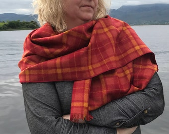 Irish tweed wool shawl-FREE SHIPPING-oversized scarf,wrap,stole-red&yellow tartan check-light weight fabric -100% wool - Handmade in Ireland