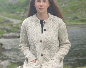 Irish Aran Wool Cardigan Lumber Jacket - Cream Nep / With Fleck - buttoned cardigan - 100% Pure New Wool -Warm & Chunky- HANDMADE IN IRELAND