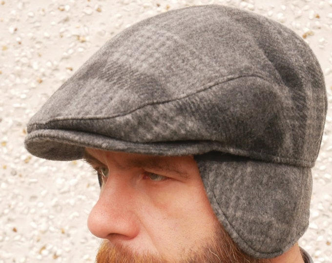 Traditional Irish tweed flat cap -grey/charcoal tartan/plaid check -with foldable/optional ear flaps -100% wool -padded -HANDMADE IN IRELAND