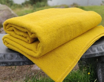 King/Queen Size Wool Blanket/Throw -Gorse Yellow/Grey- 90″ x 100″ (228 x 254 cm)- 100% Pure New Irish Wool - Thick & Heavy - MADE IN IRELAND