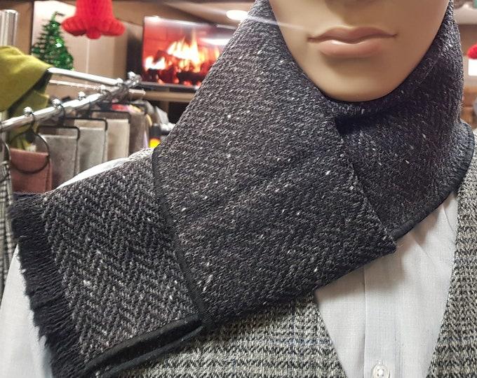 Irish tweed wool scarf -100% pure new wool - charcoal & grey herringbone / salt and pepper - hand fringed  - HANDMADE IN IRELAND