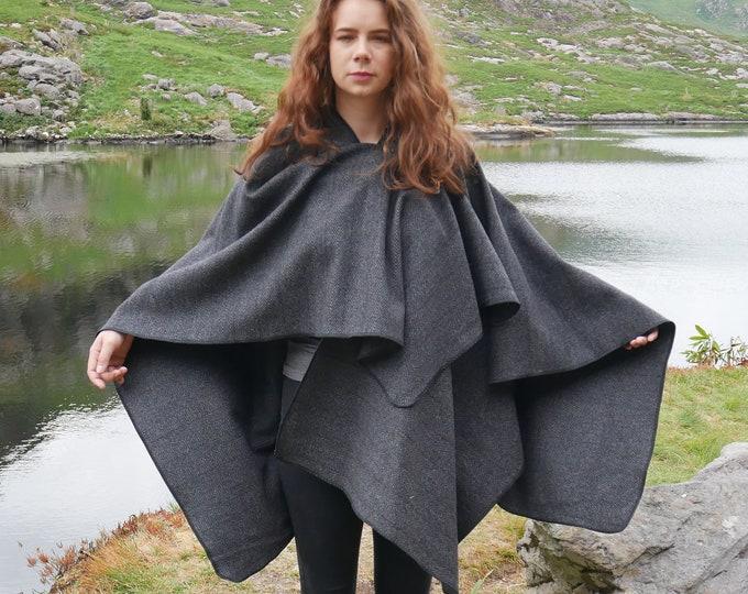 Irish tweed ruana ,wrap,cape, coat ,arisaid - grey/black herringbone - 100% wool - ready for shipping - HANDMADE IN IRELAND