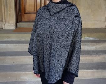 Irish woven wool poncho/cape/shawl in one piece -pure new wool- black and white herringbone /salt&pepper-unique texture -HANDMADE IN IRELAND