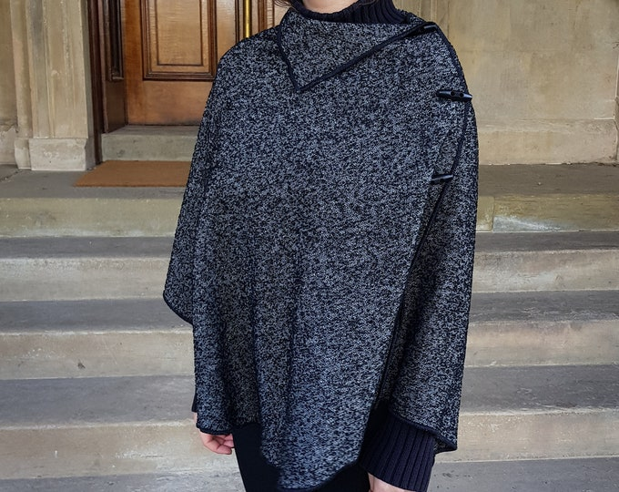 Irish woven wool poncho/cape/shawl in one piece -pure new wool- black and white herringbone /salt&pepper-unique texture -HANDMADE IN IRELAND