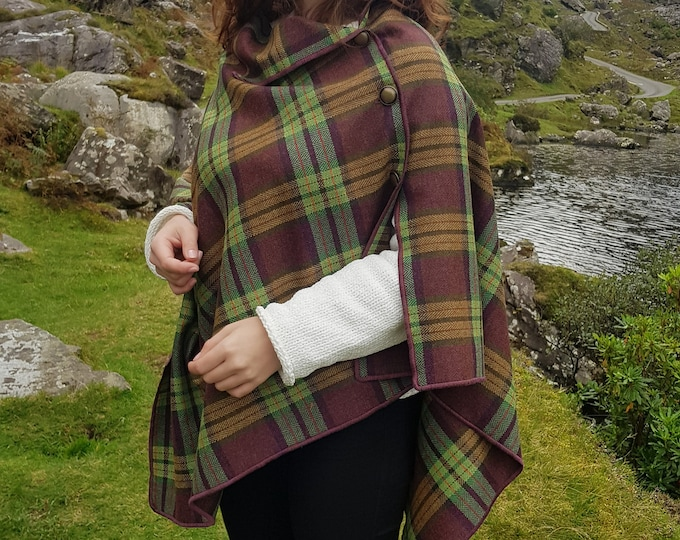 3in1 - Irish soft lambswool cape, poncho, shawl - tartan. plaid,check & herringbone-unique pattern-burgundy/green/yellow-HANDMADE IN IRELAND