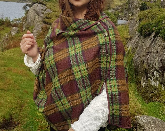 Irish soft lambswool poncho, cape, shawl in 1 piece! burgundy/green/yellow  tartan, plaid check - 100% pure new wool - HANDMADE IN IRELAND