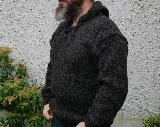 Authentic Irish Fisherman sweater -hooded -ribbed pattern-charcoal-100% raw wool-hand spoon yarn-unprocessed-UNDYED -Hand knitted in Ireland