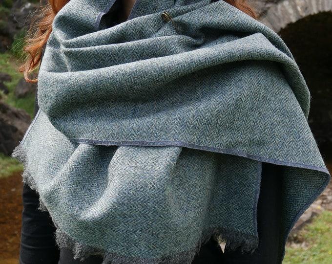 Irish Donegal tweed wool shawl, oversized scarf, stole -grey/turquoise herringbone -100% pure new wool - hand fringed - HANDMADE IN IRELAND