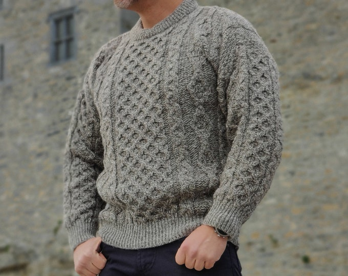 Traditional Aran Sweater - 100% pure new wool - oatmeal - chunky&heavy - MADE IN IRELAND