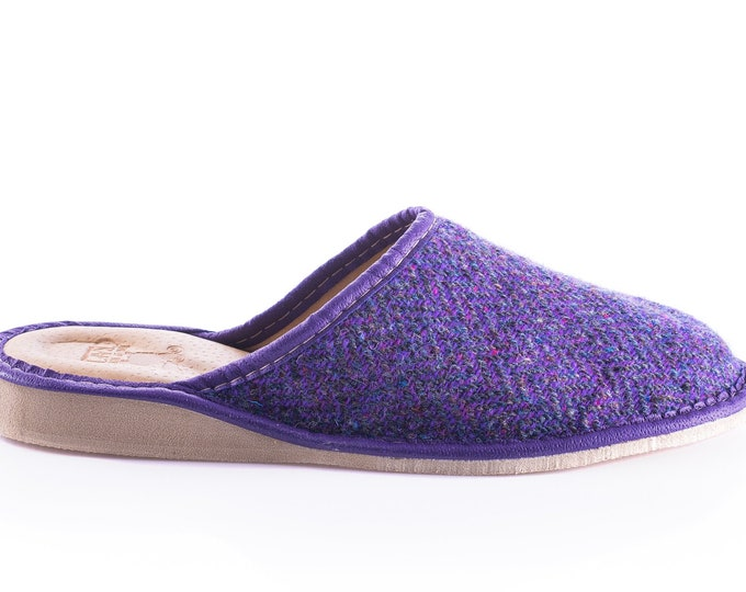 Womens Irish tweed & leather slippers  - purple herringbone - HANDMADE IN IRELAND