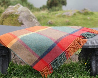 Supersoft Lambswool Blanket / Throw - Orange/Green/Yellow/Wine Check - 137x180 cm (54x71'') - 100% Pure New Lambswool - MADE IN IRELAND