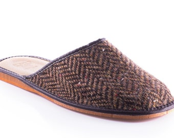 Irish Tweed & genuine leather Mens slippers - with durable soles - brown/bronze herringbone with fleck - MADE IN IRELAND -ready for shipping