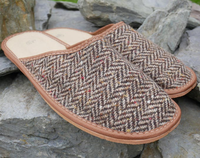 Irish Tweed & genuine leather slippers- FREE SHIPPING- with durable sole - brown/beige herringbone - Made in Ireland-ready for shipping