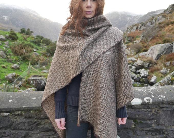 Irish tweed ruana, wrap, cape,  - brown/beige herringbone / multi-colour melange - 100% wool - ready for shipping - Handmade in Ireland