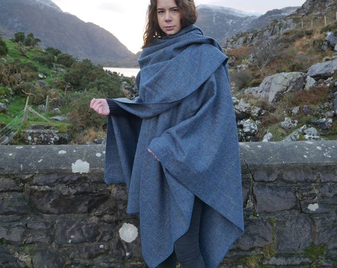 Irish Donegal tweed wool ruana, wrap, cape , coat -blue & grey herringbone with over - check - 100% wool - HANDMADE IN IRELAND