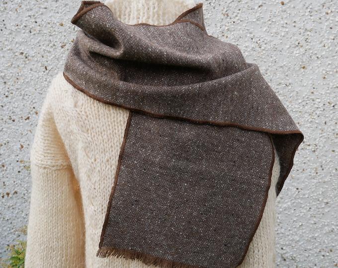 Irish tweed wool scarf -100% wool- brown/grey herringbone - FREE SHIPPING - hand fringed -ready for shipping - unisex - Handmade in Ireland