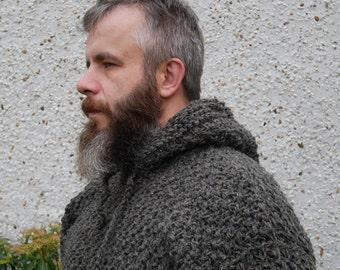 Irish Medieval sweater - hooded - dragon scale pattern -100% raw wool-organic-hand spun wool yarn -UNDYED -dark gray-Hand knitted in Ireland