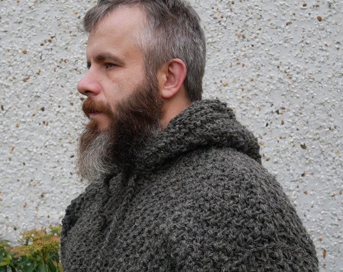 Irish Medieval sweater - hooded - dragon scale pattern -100% raw wool-organic-hand spun wool yarn -UNDYED -dark gray-Hand knitted in Ireland