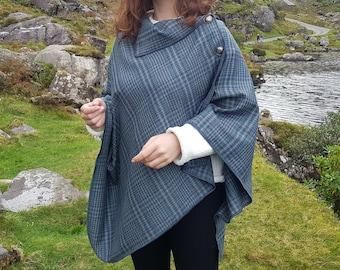 Irish soft lambswool poncho, cape, shawl in 1 piece! turquoise/grey/blue plaid check tartan -100% pure new wool - HANDMADE IN IRELAND