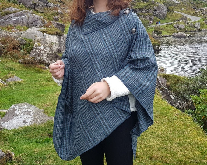 Irish soft lambswool poncho, cape, shawl in 1 piece! turquoise/grey/blue plaid check tartan -100% pure new wool - HANDMADE IN IRELAND