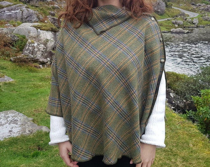 3in1 - Irish soft labswool poncho, cape and shawl in one piece - green/blue/yellow tartan , plaid, check - 100%  wool - HANDMADE IN IRELAND
