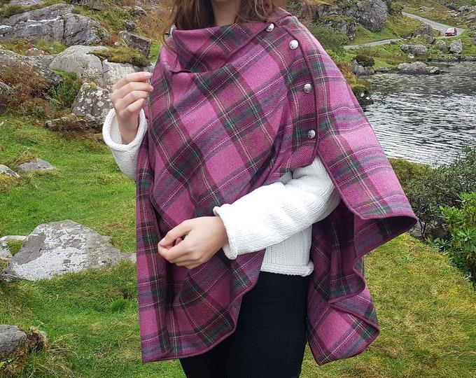 3in1 Irish soft lambswool versatile poncho, cape, shawl in one piece! - 100% pure new wool - pink/green tartan, plaid - HANDMADE IN IRELAND