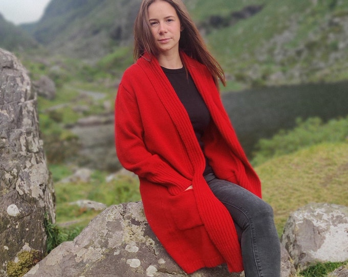 Rib Edge Knitted Long Ladies Jacket with Pockets - 100% Pure New Soft Lambswool - Red - really warm & chunky - HANDMADE IN IRELAND