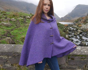 Versatile 3in1 - Irish tweed wool poncho, cape & shawl - purple - 100% wool - ready for shipping - Handmade in Ireland - FREE SHIPPING
