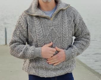 Organic Irish Wool Aran Zip Sweater - Oatmeal - Undyed - 100% pure new organic wool - chunky and heavy - MADE IN IRELAND