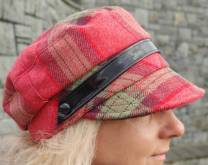 Ladies Tweed Newsboy Hat - pink red / green check / plaid / tartan - 100% Pure New Wool - HANDMADE IN IRELAND
