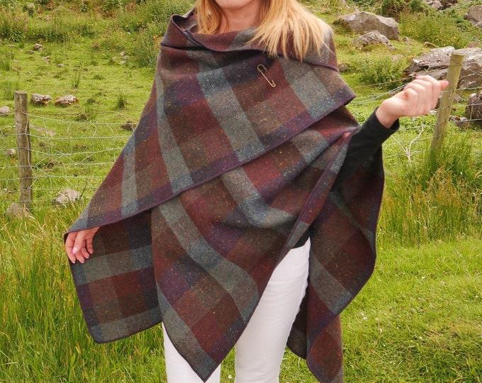 Irish tweed wool hooded ruana, wrap, arisaid - burgundy & green check  - heavy tweed - 100% Pure New Wool - HANDMADE IN IRELAND