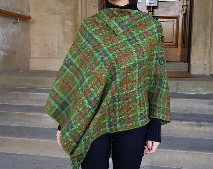Versatile 3in1-Irish tweed poncho, cape & shawl - green/red/orange tartan plaid check - 100% wool - ready for shipping - HANDMADE IN IRELAND