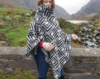 Irish felt wool poncho/cape with turtleneck - 100% wool - black & white -very warm - ready for shipping -Handmade in Ireland - FREE SHIPPING
