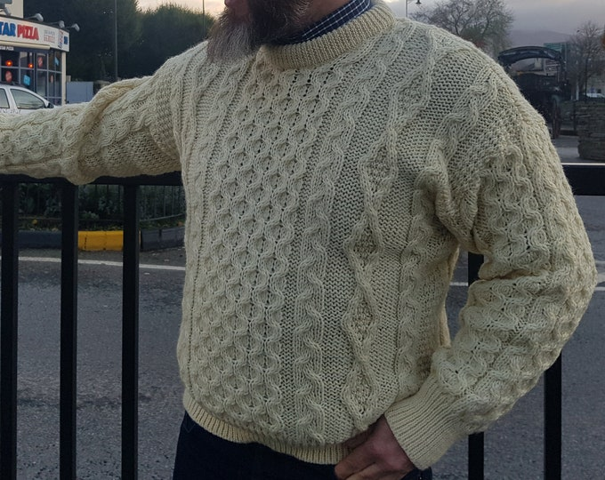 Traditional Aran Sweater - 100% Pure New Wool - Cream - Chunky & Heavy - Proper Irish sweater - MADE IN IRELAND - ready for shipping