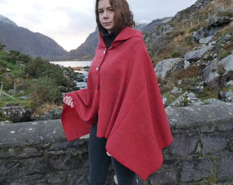 Versatile 3in1-Irish tweed poncho, cape & shawl - red - 100% wool - ready for shipping - Handmade in Ireland