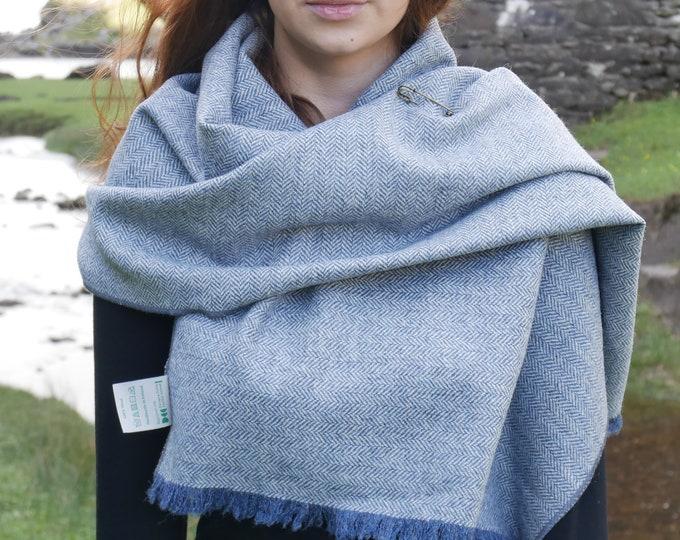 Irish tweed wool shawl, oversized scarf, stole - blue herringbone - 100% wool - hand fringed - ready for shipping - HANDMADE IN IRELAND