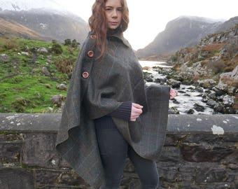 Versatile 3in1 - Irish tweed poncho, cape & shawl - moss green herringbone / over-check - ready for shipping - Handmade in Ireland