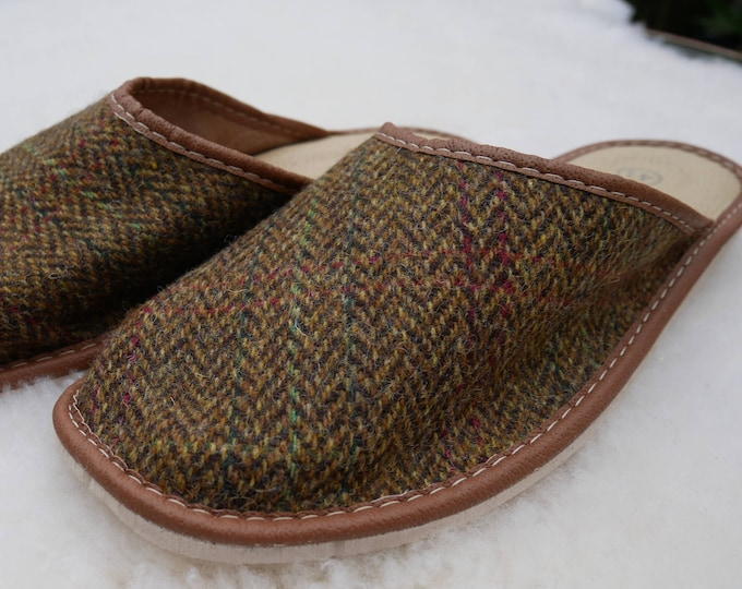 Irish Tweed & genuine leather slippers - durable sole - mustard green/brown herringbone/overcheck - HANDMADE IN IRELAND