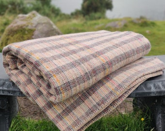 King/Queen Size Wool Blanket -Grey/Cream -multicolour stripes- 90″x100″ (228x254 cm)- 100% Pure New Irish Wool -Thick&Heavy- MADE IN IRELAND