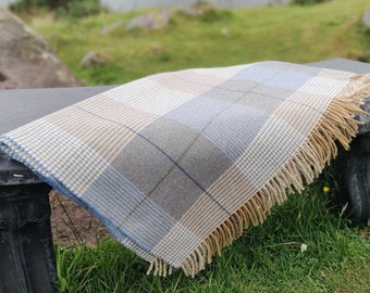 Supersoft Lambswool Blanket / Throw - Cream / Taupe /Denim Check - 137x180 cm (54x71'') - 100% Pure New Lambswool - MADE IN IRELAND
