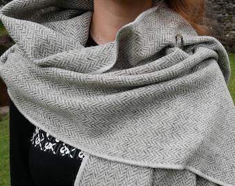 Irish tweed shawl,oversized scarf, stole - grey herringbone - 100% wool -hand fringed -woven wool - ready for shipping - HANDMADE IN IRELAND