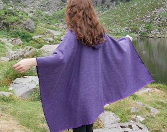 Irish tweed wool hooded ruana, wrap, arisaid - purple herringbone -  ready for shipping - HANDMADE IN IRELAND