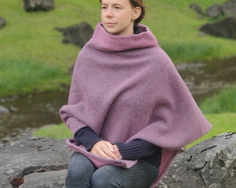 Irish felted wool turtleneck poncho - 100% Pure New Wool - lilac / lavender -  one size - HANDMADE IN IRELAND