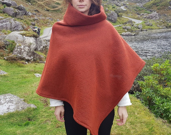 Irish felted wool turtleneck poncho - 100% pure new wool - very warm - burnt red - ready for shipping - HANDMADE IN IRELAND