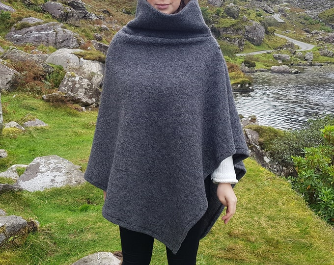 Irish felted wool turtleneck poncho - 100% pure new wool - very warm - dark grey - ready for shipping - HANDMADE IN IRELAND