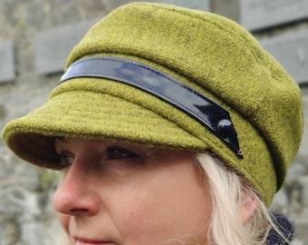 Ladies Tweed Newsboy Hat - lime/olive green - 100% pure new wool - HANDMADE IN IRELAND